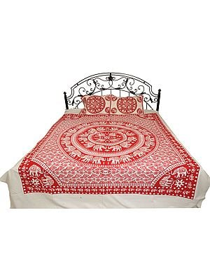 White Bedsheet from Pilkhuwa with Printed Chakravhuh of Elephants