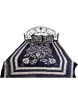 Eclipse-Blue Batik-Dyed Bedsheet with Printed Flowers
