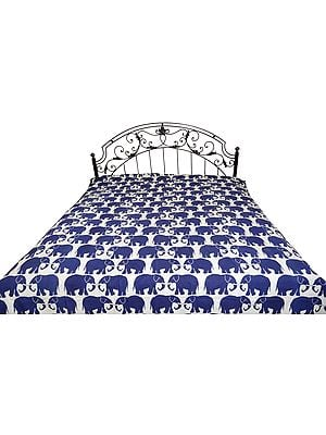 White and Blue Bedsheet from Jodhpur with Printed Elephant Pairs All-Over and Kantha Stitch
