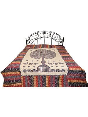 Multicolored Kantha Stitched Bedcover from Jodhpur with Applique Tree of Life