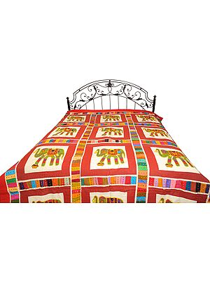 Cowhide-Red Bedcover from Jodhpur with Applique Elephants and Kantha Stitch