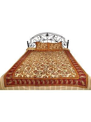 Cream and Maroon Bedsheet from Pilkhuwa with Kalamkari Print