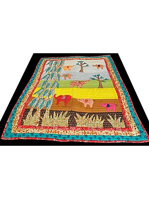 Multicolor Children's Blanket from Dehradun with Patch-work