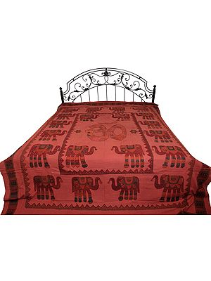 Dusty-Cedar Bedspread from Jodhpur with Applique OM (AUM) and Elephants