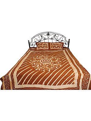Carob-Brown Batik-Dyed Bedsheet with Floral-Motif and Stripes