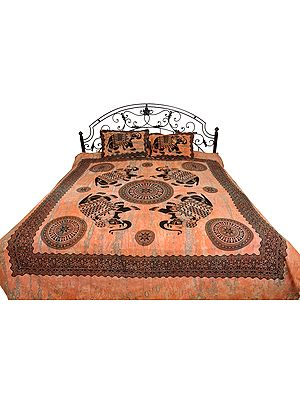 Coral-Sands Batik-Dyed Bedsheet with Printed Elephants and Chakras