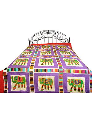 Ultra-Violet Bedcover from Jodhpur with Applique Elephants and Kantha Stitch