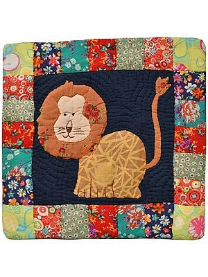Multicolor Printed Cushion Cover from Dehradun with Applique Lion and Kantha Stitch Embroidery