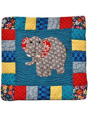 Blue Cushion Cover from Dehradun with Applique Elephant and Kantha Stitch