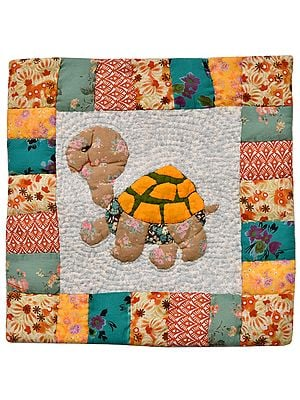 Tortoise Printed Patchwork Cushion Cover from Dehradun