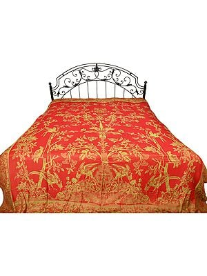 Reversible Jamawar Bedspread with Woven Tree of Life