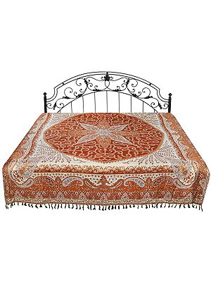 Ginger-Spice Reversible Jamawar Bedspread with Woven Paisleys