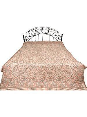 Gray-Morn Jamawar Bedspread with Kani Weave