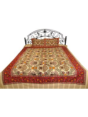 Almond-Oil Bedsheet from Pilkhuwa with Kalamkari Print
