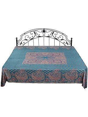 Reversible Jamawar Bedspread with Woven Bootis and Paisleys on Border