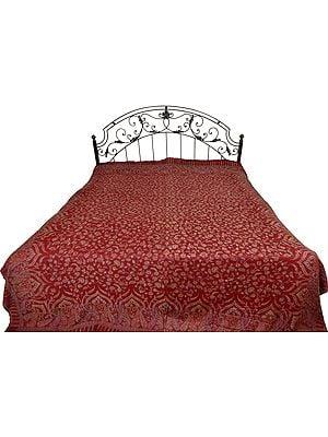 Maroon Jamawar Bedspread with Floral Kani Weave