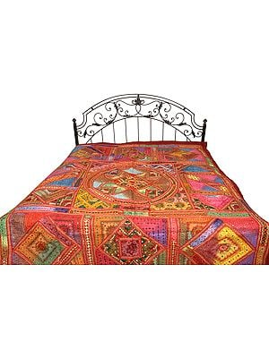 Multicolor Antiquated Bedspread from Kutch with Embroidered Patches and Mirrors