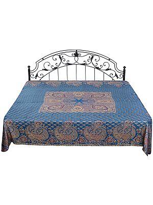 Cyan-Blue Reversible Jamawar Bedspread from Amritsar with Woven Paisleys