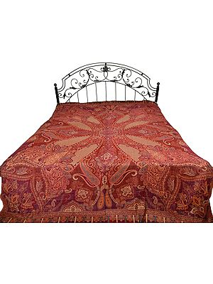 Reversible Jamawar Bedspread from Amritsar with Woven Paisleys