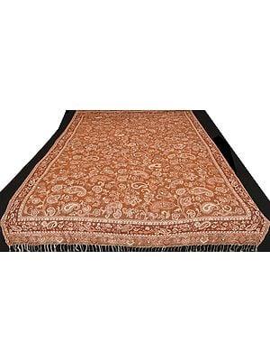 Carob-Brown Reversible Jamawar Sofa-Throw with Woven Paisleys and Flowers