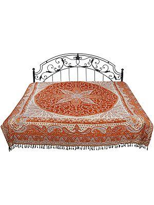 Autumn-Glaze Reversible Jamawar Bedspread from Amritsar with Woven Paisleys