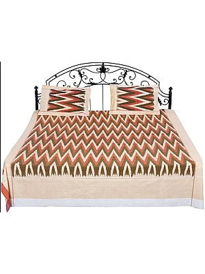 Ikat Handloom Bedspread from Pochampally with Zigzag Weave in Multicolor Thread
