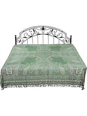 Beryl-Green Reversible Jamawar Bedspread with Woven Florals and Paisleys