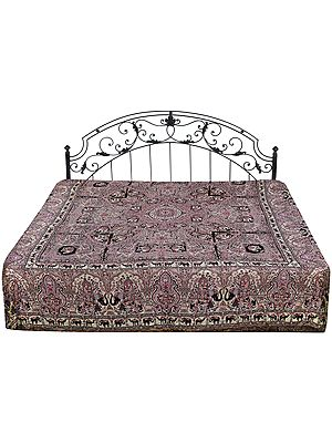 Rose-Bud Reversible Jamawar Bedspread from Amritsar with Woven Elephants and Village Folkss