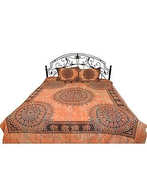 Coral-Reef Bedspread from Gujarat with Block-Printed Bootis and Elephants