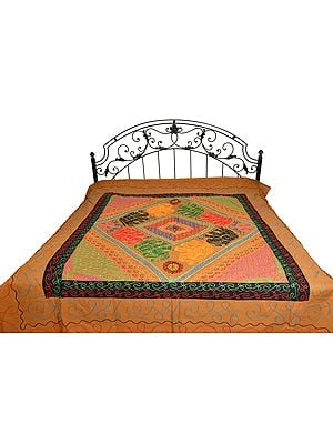 Bone-Brown Gujarati Bedspread with Appliqué Elephants and All-Over Embroidery