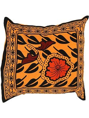 Golden-Ochre Cushion Cover from Pilkhuwa with Printed Flowers