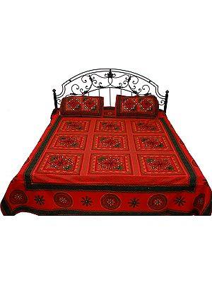 Bittersweet-Red Gujarati Bedspread with Floral-Embroidery and Mirrors