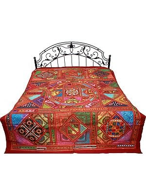 Mineral-Red Bedspread from Gujarat with Embroidery and Mirrors All Over