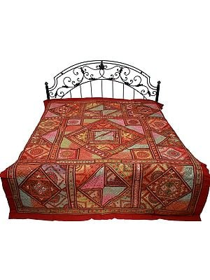 Garnet-Rose Bedspread from Gujarat with Ari-Embroidered Bootis and Mirrors All Over