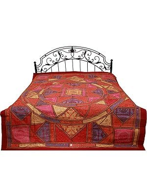 Multi-Color Kutch Patch Bedspread with All-Over Embroidery and Mirrors