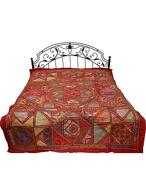 Burnt-Russet Kutch Patch Bedspread with All-Over Embroidery and Mirrors