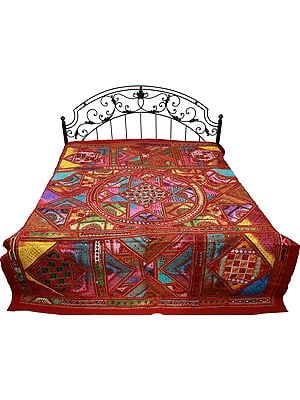 Tibetan-Red Bedspread from Gujarat with All-Over Embroidered Bootis and Mirrors