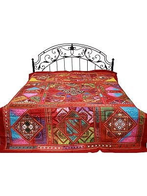 Garnet-Rose Bedspread from Gujarat with Embroidered Kutch Patches and Mirrors