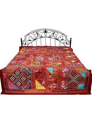 Brick-Red Bedspread from Gujarat with Embroidered Floral Kutch Patches and Mirrors