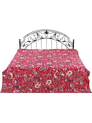 Bedcover from Gujarat with Printed Flowers and Kantha Stitch All-Over