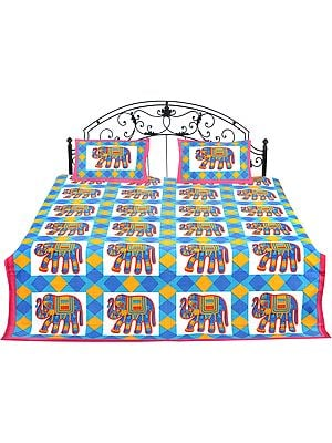Ivory Bedspread From Jodhpur with Printed Multicolored Elephants All-Over