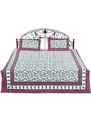 White Bedspread From Jaipur with Printed Multicolored Flowers All-Over