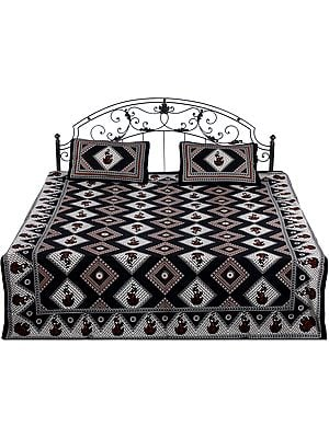 Bedspread from Jaipur with Printed Rhombus and Dancing Lady