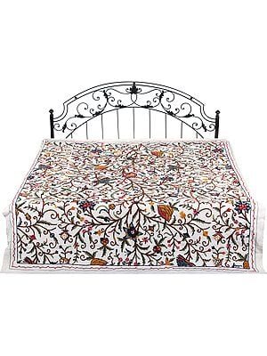 Off-White Bedspread from Kashmir with Ari-Embroidered Flowers in Multicolor Thread