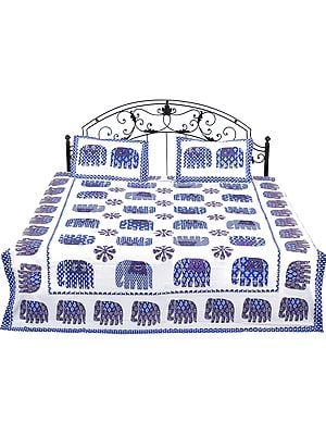 White Bedspread from Rajasthan with Printed Elephants and Flowers
