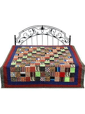 Multi-Color Reversible Bedspread From Gujarat with Patchwork and Kantha Stitch Embroidery