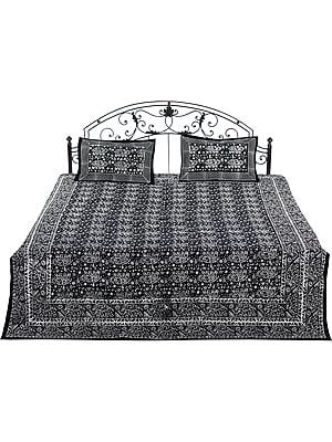 White and Black Bedspread from Pilkhuwa with Block-Printed Elephants and Flowers
