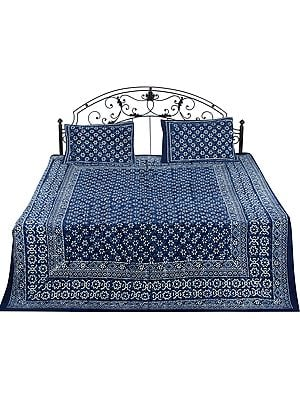 Twilight-Blue Bedspread from Jaipur  with Bagdoo Block-Printed White Flowers