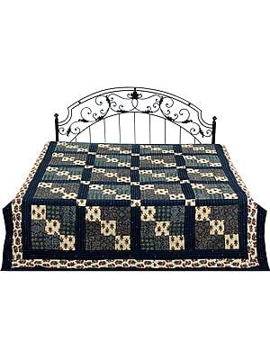 Twilight-Blue Printed Reversible Bedspread with Patchwork and Kantha Stitch Embroidery All-Over