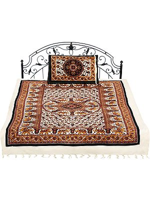 Pastel-Rose Tan Single-Bed Bedspread with Printed Elephants and Flowers